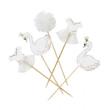 We Heart Swans Cake Toppers - pack of 12